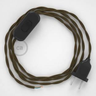 Kabantis lempos lizdas šviestuvo gaubtui su juodos viskozės tekstiliniu laidu RM04