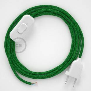 Lamp wiring, RL06 Sparkly Green Rayon 1,80 m. Choose the colour of the switch and plug.