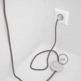 """""""Posaluce"""" juodo metalo stalinė lempa su tekstiliniu laidu, jungikliu ant laido ir 2 polių kištuku"""