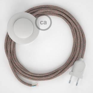 """""""Posaluce"""" balto metalo stalinė lempa šviestuvo gaubtui su tekstiliniu laidu, jungikliu ant laido ir 2 polių kištuku"""