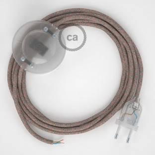 """""""Posaluce"""" juodo metalo stalinė lempa šviestuvo gaubtui su tekstiliniu laidu, jungikliu ant laido ir 2 polių kištuku"""