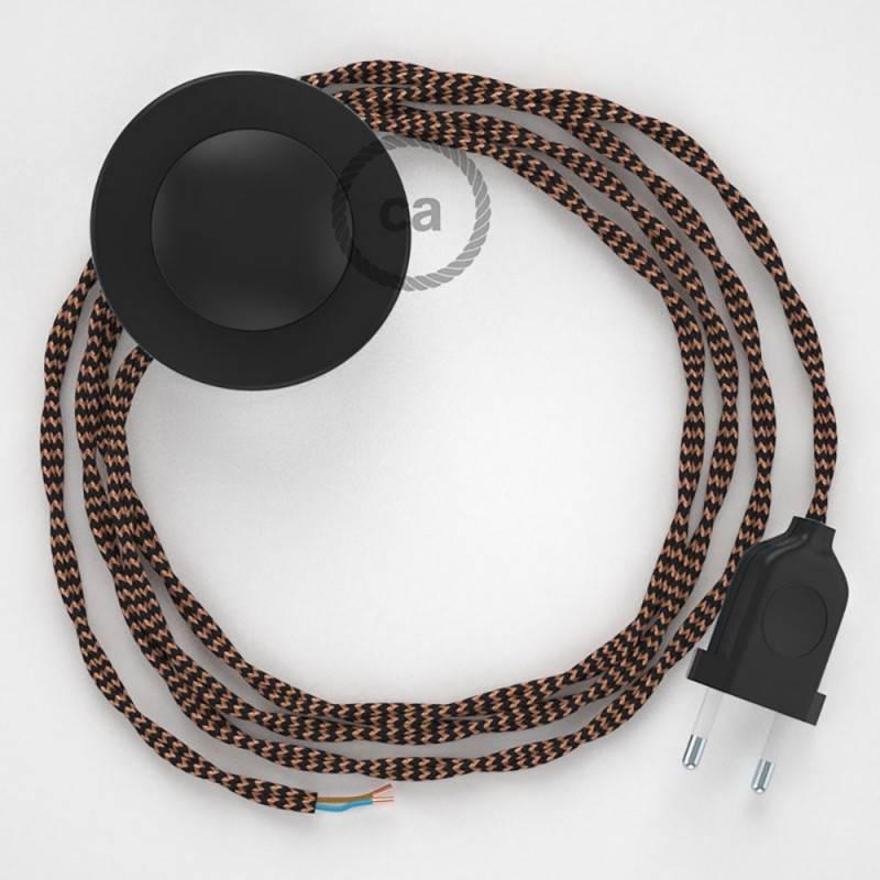 """Stalo šviestuvas """"Snake"""", su turkio spalvos metalo """"Diamond"""" E27 atviru šviestuvo gaubtu su 2 polių kištuku"""