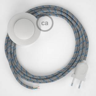 Wiring Pedestal, RD55 Blue Steward Stripes Cotton and Natural Linen 3 m. Choose the colour of the switch and plug.