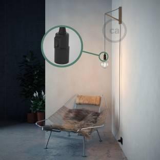 Spostaluce Metalas 90°,juodas reguliuojamas šviesos šaltinis su E27 sriegiuotu lempos lizdu,tekstiliniu laidu ir angomis šonuose