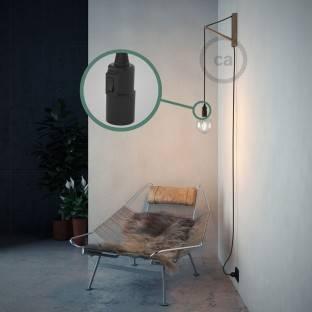 Spostaluce Metalas 90°,chromuotas reguliuojamas šviesos šaltinis su E27 lempos lizdu,tekstiliniu laidu ir angomis šonuose
