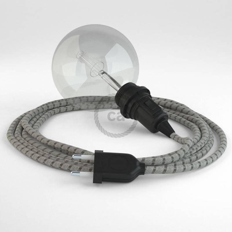 Vytas elektros laidas, padengtas neapdirbtu linu TN04. Rudas