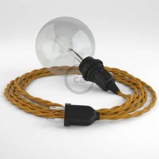 """Apvalus elektros laidas """"Vertigo HD"""", dengtas kremo ir riešutų spalvos plonų linijų audiniu ERM53"""