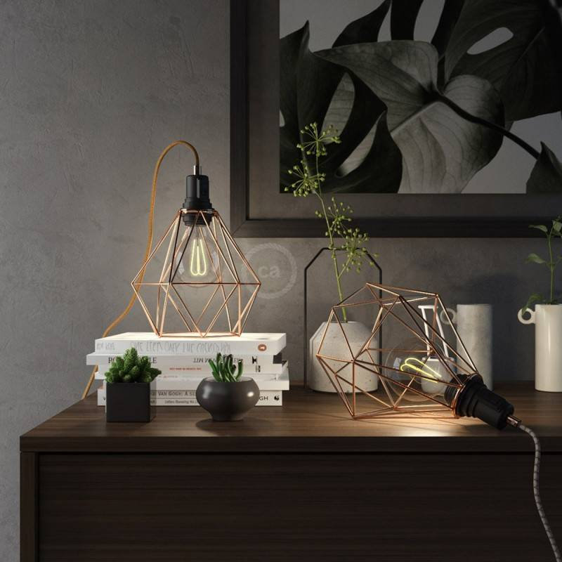 Table Snake, with coppered metal Diamond E27 cage lampshade with 2 pole plug