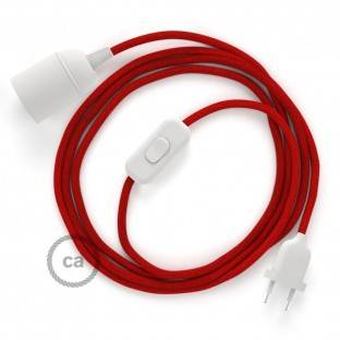 SnakeBis wiring with lamp holder and fabric cable - Fire Red Cotton RC35