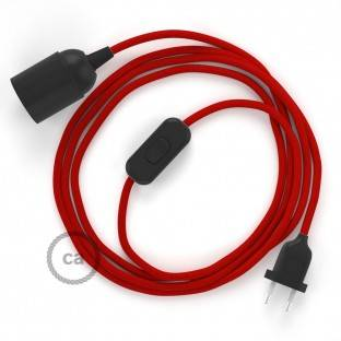 SnakeBis wiring with lamp holder and fabric cable - Red Rayon RM09