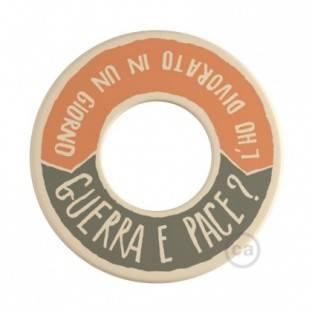 MINI-UFO: reversible wooden disk READING BALLSH*T collection, subject GUERRA E PACE + MEGLIO DEL FILM