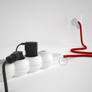 French power strip with electrical cable covered by rayon Red RM09 and Schuko plug with confort ring