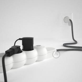 French power strip with electrical cable covered by rayon ZigZag Black RZ04 and Schuko plug with confort ring