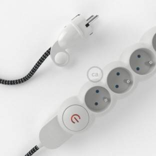 French power strip with electrical cable covered in 3D effect fabric RT41 Stars and Schuko plug with confort ring
