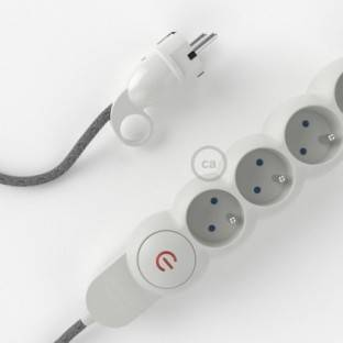 Power Strip with electrical cable covered in Grey Natural Linen fabric RN02 and Schuko plug with confort ring