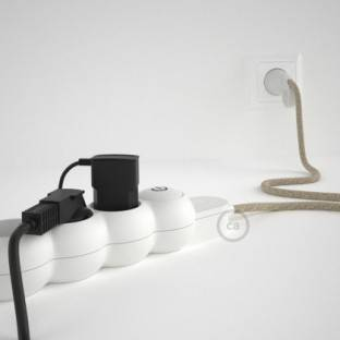 Power Strip with electrical cable covered in Neutral Natural Linen fabric RN01 and Schuko plug with confort ring
