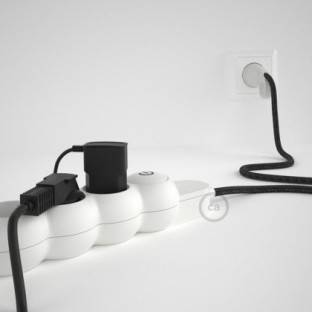 Power Strip with electrical cable covered in Anthracite Natural Linen fabric RN03 and Schuko plug with confort ring