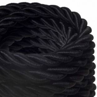 2XL electrical cord, electrical cable 3x0,75. Shiny black fabric covering. Diameter 24mm.