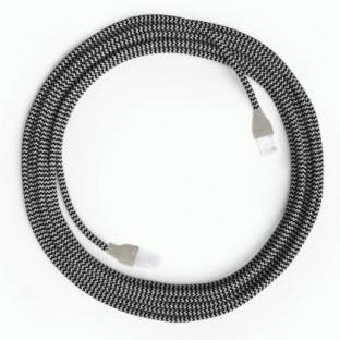 LAN Ethernet Cable Cat 5e with RJ45 plugs - Rayon Fabric RZ04 ZigZag White Black