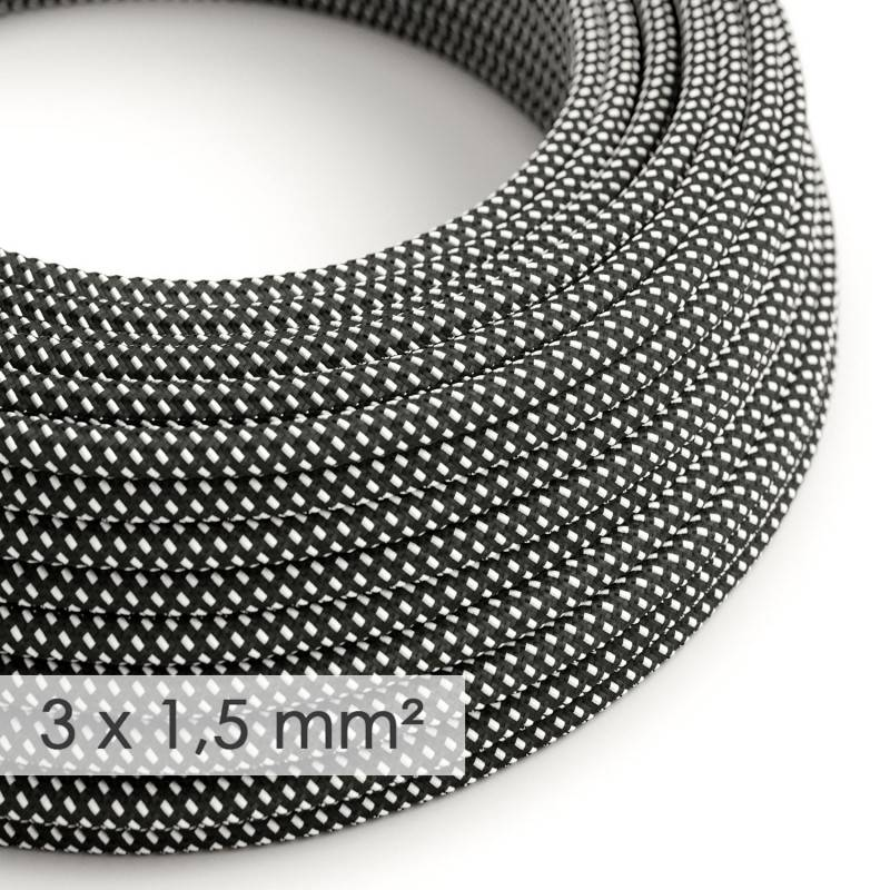 Large section electric cable 3x1,50 round - covered by rayon 3D Black White RT41