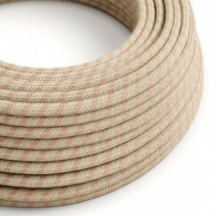 Round Electric Cable covered by Ancient Pink Stripes Cotton and Natural Linen RD51