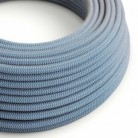 Round Electric Cable covered by Steward Blue ZigZag Cotton and Natural Linen RD75