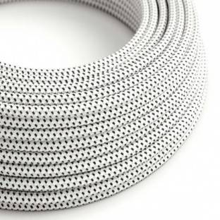 Round Electric Cable covered in 3D effect fabric RT14 Stracciatella