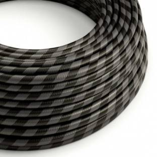 Round Electric Vertigo HD Cable covered by Graphite and Black Wide Stripes fabric ERM54