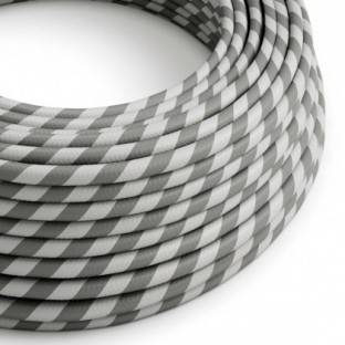 Round Electric Vertigo HD Cable covered by Silver and Grey fabric ERM55