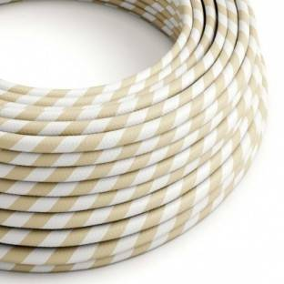 Round Electric Vertigo HD Cable covered by Cream and Nut Wide Stripes fabric ERM56