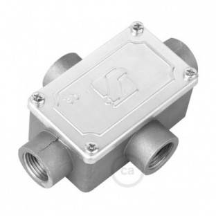 Four-outlet, X-shaped Junction box for Creative-Tube, aluminium case