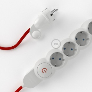 German power strip with electrical cable covered by rayon Red RM09 and Schuko plug with confort ring