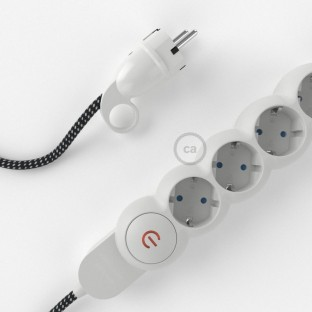 German power strip with electrical cable covered in 3D effect fabric RT41 Stars and Schuko plug with confort ring
