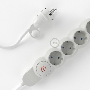 Power Strip with electrical cable covered in rayon White fabric RM01 and Schuko plug with confort ring