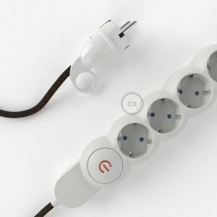 Power Strip with electrical cable covered in Brown Natural Linen fabric RN04 and Schuko plug with confort ring