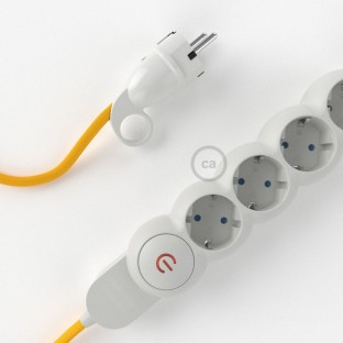 Power Strip with electrical cable covered in rayon Yellow fabric RM10 and Schuko plug with confort ring