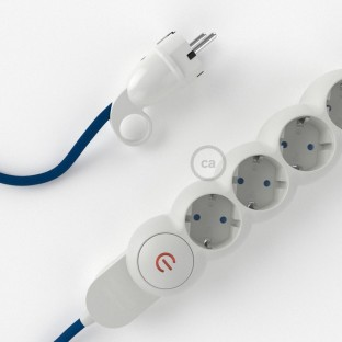 Power Strip with electrical cable covered in rayon Blue fabric RM12 and Schuko plug with confort ring