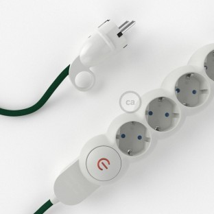 Power Strip with electrical cable covered in rayon Dark Green fabric RM21 and Schuko plug with confort ring