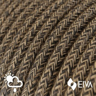 Outdoor round electric cable covered in Natural Linen SN04 Brown -suitable for IP65 EIVA system