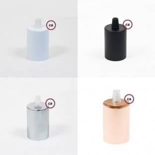 E27 lempos lizdas su jungikliu, 2 žiedai, balta termoplastinė medžiaga