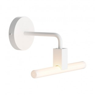 Minimal wall lamp with S14d Syntax socket and metal bent extension pipe