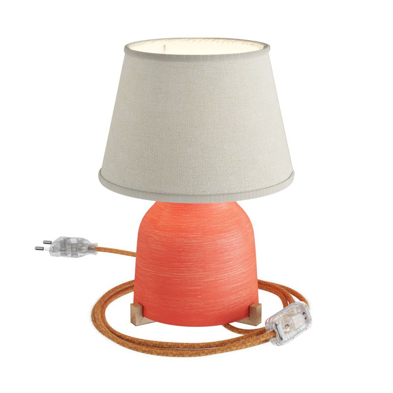 Vaso ceramic table lamp with Impero shade, complete with textile cable, switch and 2-pin plug