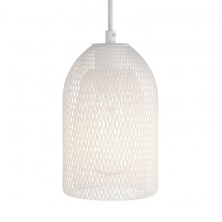 Pendant lamp with textile cable, Ghostbell lampshade and metal details - Made in Italy