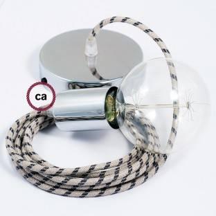 Chromuotos apdailos apvalus metalinis laido fiksatorius su sriegtu strypu, veržle ir poveržle