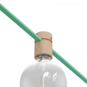 Wooden lamp holder for string light cable and Filé system. Made in Italy