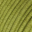 Round electric Cable covered in Plain Hay Green RN23 Jute