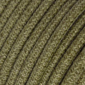 Round electric Cable covered in Plain Bark Brown RN26 Jute