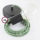 Žalias keraminis šviestuvas-Voras, su 6-7 lempučių lizdais bei RM18 žaliu laidu. Pagaminta Italijoje.
