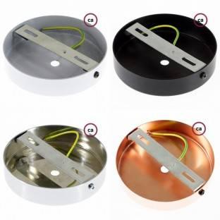 Juodo metalo 120 mm šviestuvo korpuso komplektas su 4 angomis šonuose, priedai į komplektą įeina