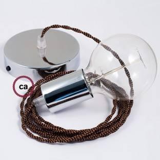 Medinis pakabinamas šviestuvas su jūrinės virvės laidu XL 16mm, dengta tamsiai bordo spalvos audiniu. Pagaminta Italijoje